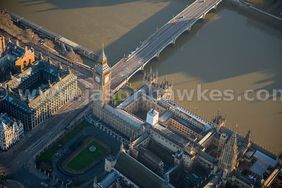 Aerial view of the Palace of Westminster, London