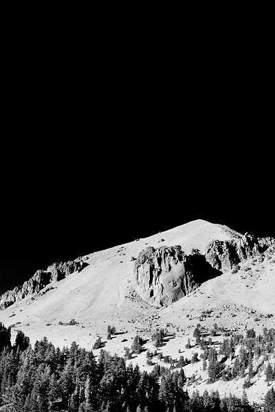 LASSEN PEAK LASSEN VOLCANIC NATIONAL PARK CALIFORNIA BLACK AND WHITE