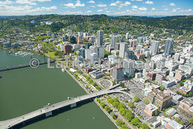 downtown skyline and Willamette River; Portland, Oregon