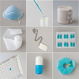 Medical items in a grid