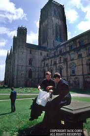 England, Durham Cathedral, two priests on tomb
