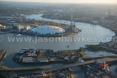 Aerial view of Greenwich Peninsula, London