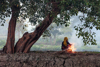 Fishermen light fires to keep warm early in the morning in the East Kolkata Wetlands, Kolkata, India.