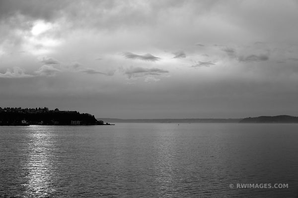 PUGET SOUND AND NOVEMBER SKY SEATTLE BLACK AND WHITE