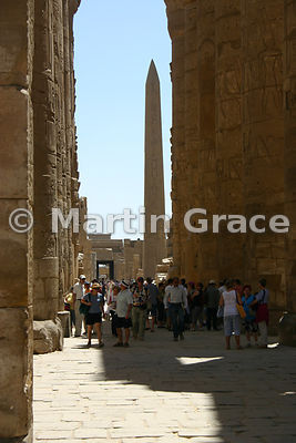 Karnak Temple of Amun - Looking Through Pylon II to Obelisk of Tuthmosis I