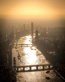 Bridges and River Thames at Sunset London England