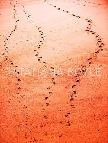 Shoe tracks on sandy beach