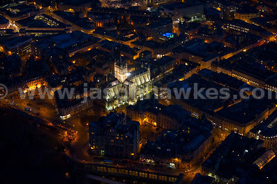 Aerial view of Bath Abbey at night, Bath