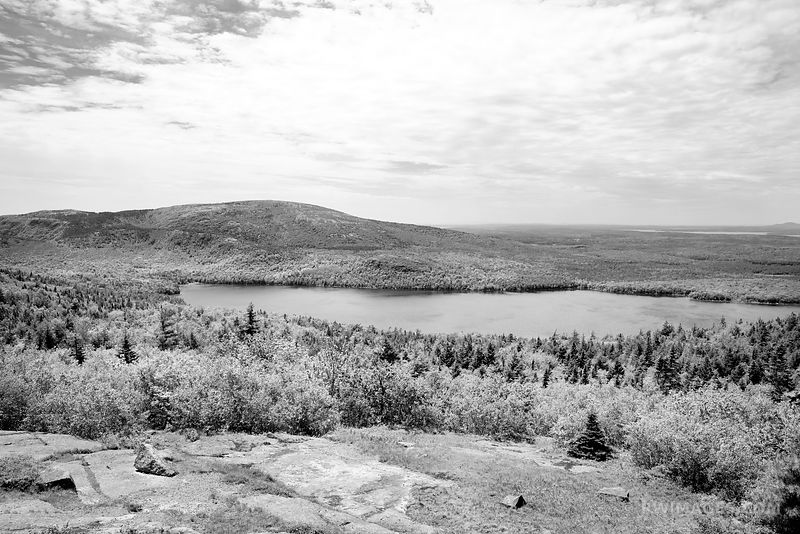 EAGLE LAKE IN SPRING ACADIA NATIONAL PARK MAINE BLACK AND WHITE