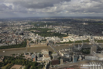 aerial photograph of Westminster and the Houses of Parliament  London England UK showing Buckingham Palace, Horse Guards Parade, Hyde Park and all the significant attractions in Westminister