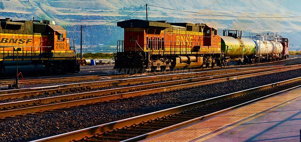 Trains at Wishram, WA