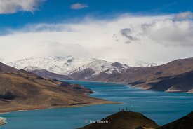 Yamdrok Lake, also known as Yamdrok Yumtso or Yamzho Yumco, one of the three largest sacred lakes in Tibet..Scenes on the road from Lhasa to Gyantse, Tibet