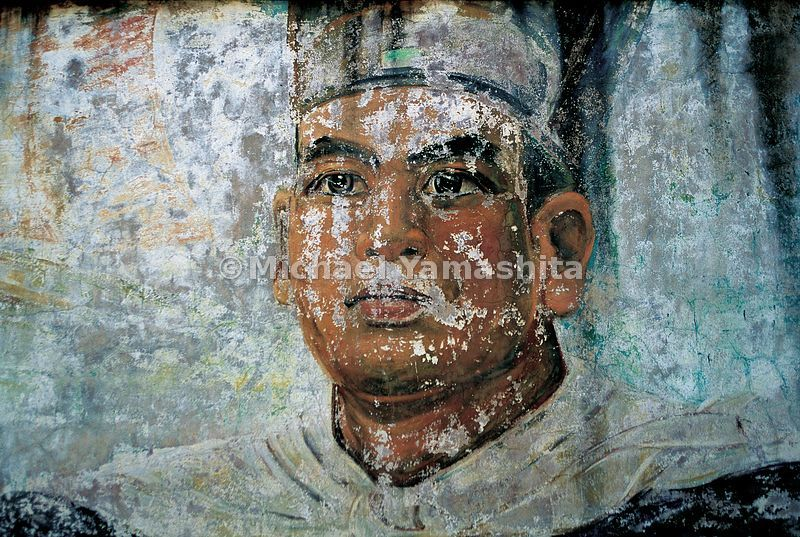 This faded mural of Zheng He is painted on the wall of a park dedicated to him in his hometown of Kunyang, in Yunnan province. Though there is renewed interest in his exploits in China, he was virtually forgotten there for 600 years.