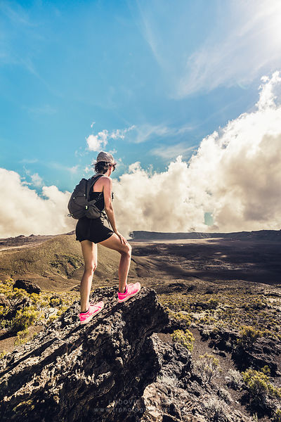 Woman Hiker in Plaine des sables,  Reunion island