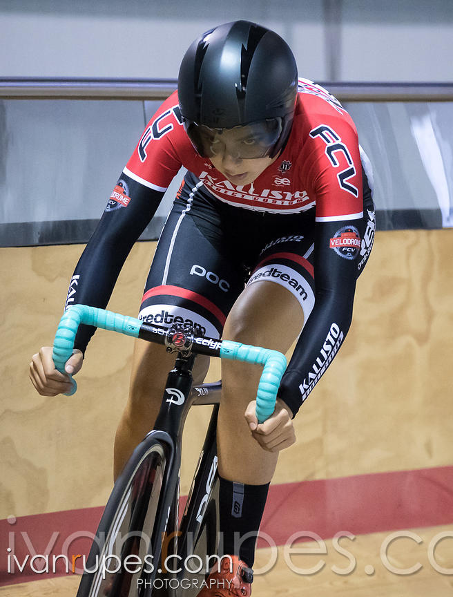 Junior Women Omnium Flying Lap. Milton International Challenge, Mattamy National Cycling Centre, Milton, On, October 1, 2016