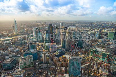 Aerial view of City of London with St Botolph's Building and construction of 70 St Mary Axe, 100 Bishopsgate, 22 Bishopsgate and The Scalpel.