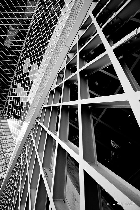 THE SEATTLE PUBLIC LIBRARY MODERN ARCHITECTURE SEATTLE WASHINGTON BLACK AND WHITE VERTICAL