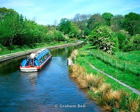 barge on monmouthshire and brecon canal brynich Aqueduct near brecon wales