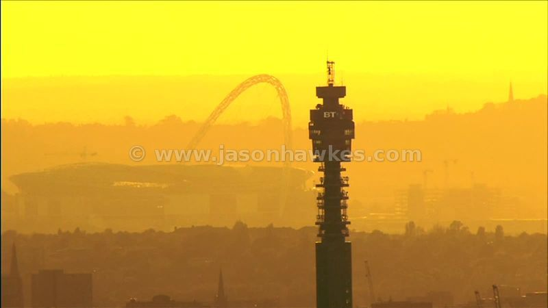 Aerial footage around the BT Tower at Sunset, Fitzrovia, London, England, UK