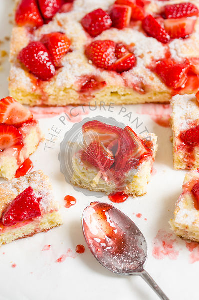 Strawberry cake with spoon