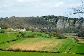 view of the lower wye valley from the eagles nest viewpoint windcliffe near chepstow monmouthshire south wales uk