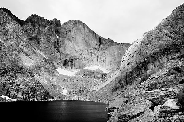CHASM LAKE AND DIAMOND FACE OF LONGS PEAK ROCKY MOUNTAIN NATIONAL PARK COLORADO BLACK AND WHITE