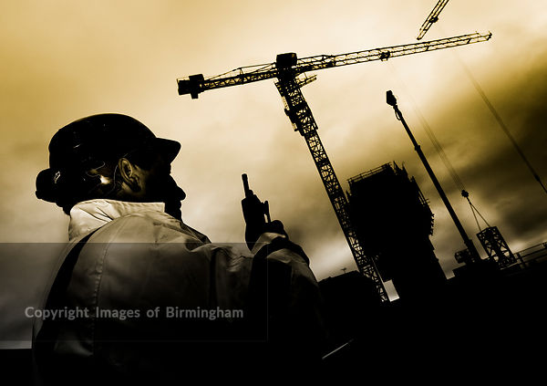 Hydraulic crane being constructed, Cube building, Birmingham