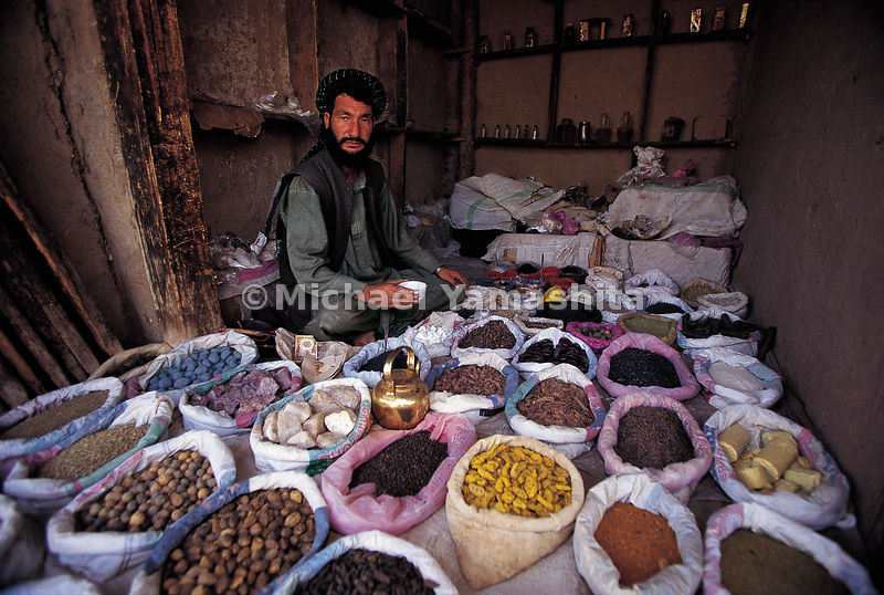 In Feyzabad, Afghanistan, like every other bazaar in the Middle East, basic goods make a colorful display in the bazaar.