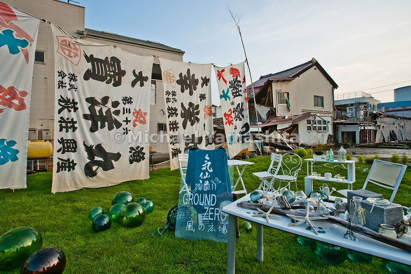 Makeshift shrine honoring fisherman killed in Tsunami.,