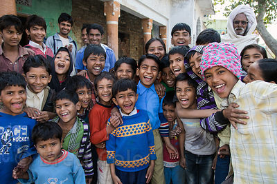 Happy children in the main square, Rajgarh village, Rajasthan, India