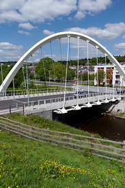 The new River Taff Central Link Bridge, Merthyr Tydfil, South Wales.