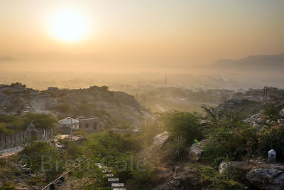 Sunrise over Ana Sagar and Ajmer, Rajasthan, India