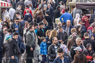 Crowds of people shopping next to Galata Bridge, Istanbul