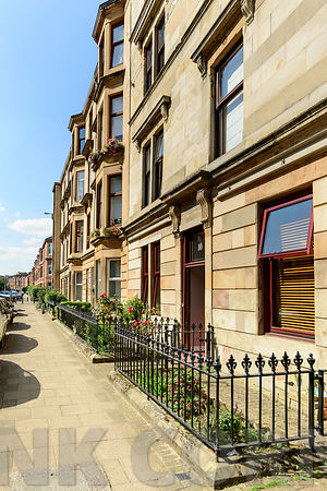 GLASGOW, SCOTLAND - AUGUST 16, 2016: A sandstone residential building in White Street, off Byers Road in the West End of Glasgow.