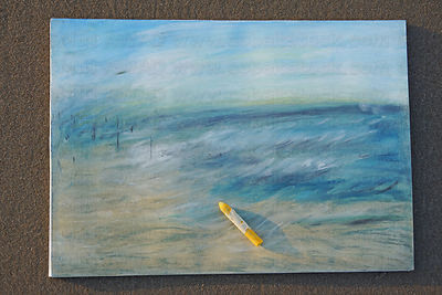 Freshly made oil crayon painting at the beach