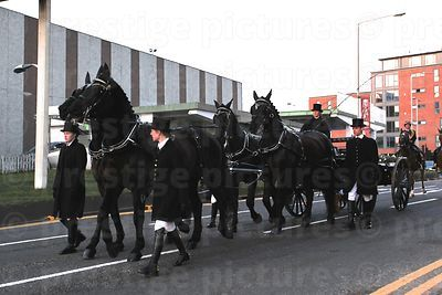 The Team of Black Horses Pulling the Cortege Coffin