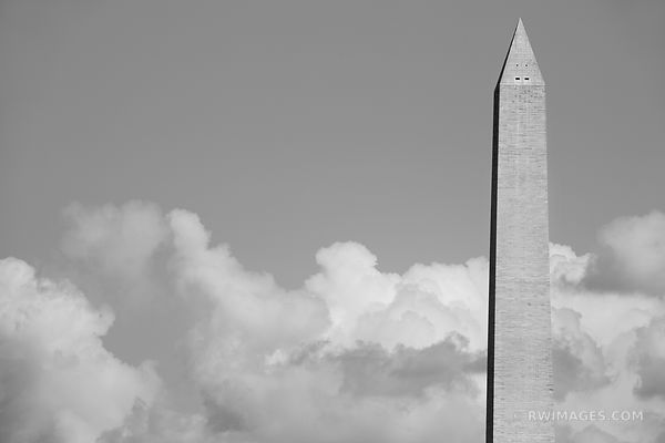 WASHINGTON MONUMENT OBELISK NATIONAL MALL WASHINGTON DC BLACK AND WHITE