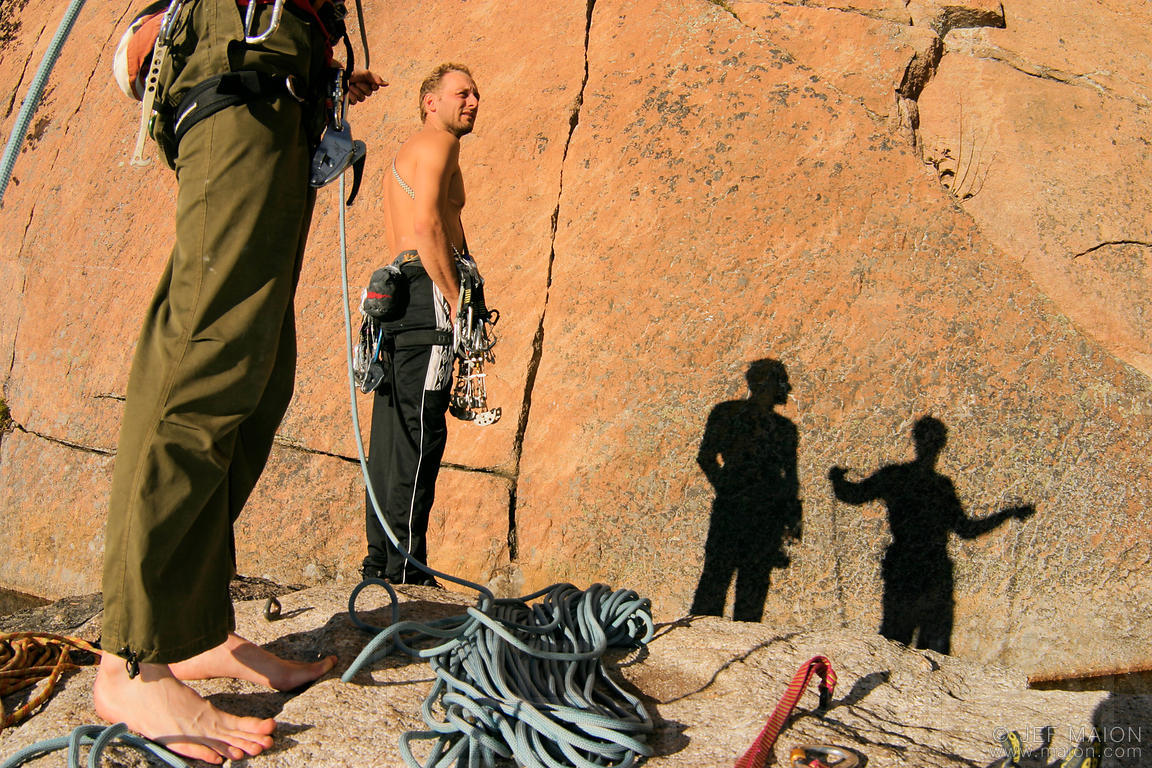 Climbers at the base of a route