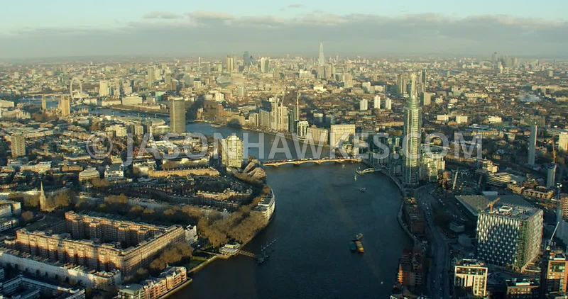 Aerial footage of Vauxhall and Pimlico
