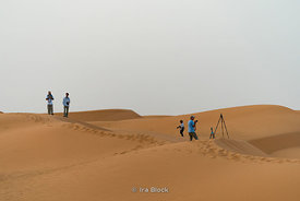 A scene in the Erg Chebbi sand dunes in Sahara Desert, Morocco