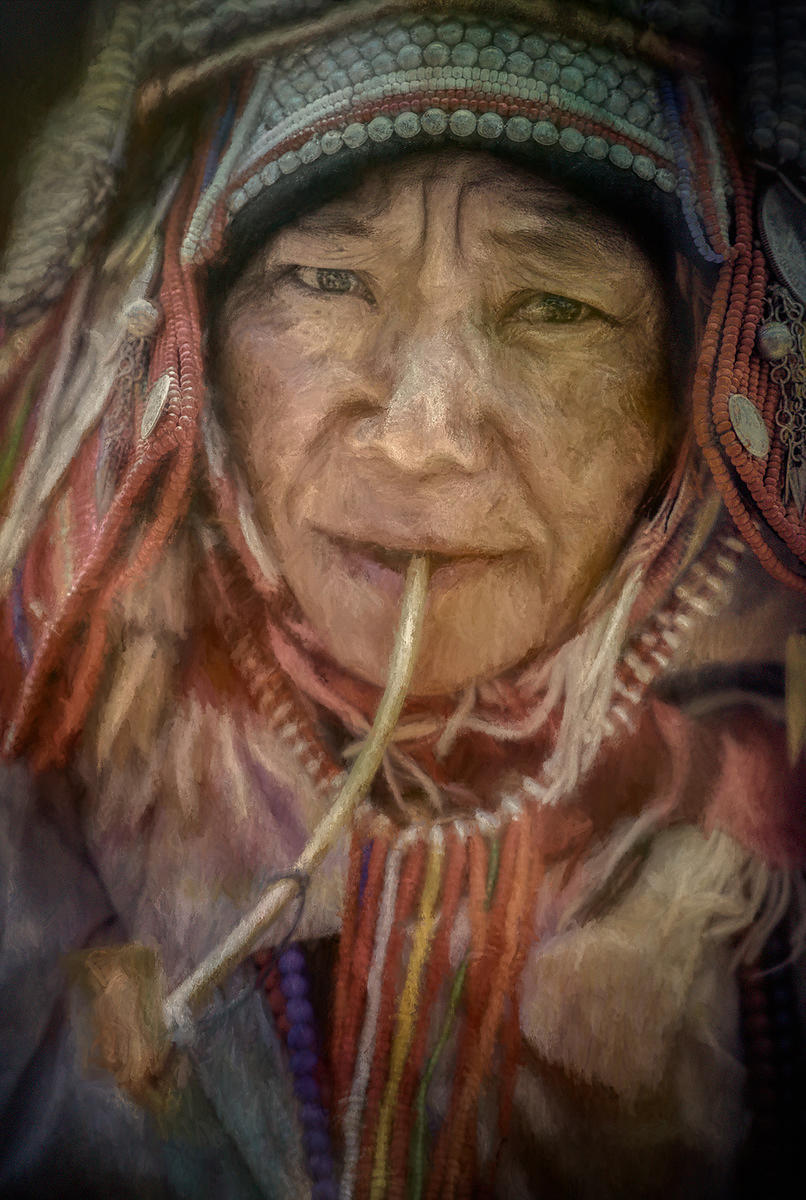 Chinese Woman Smoking Pipe