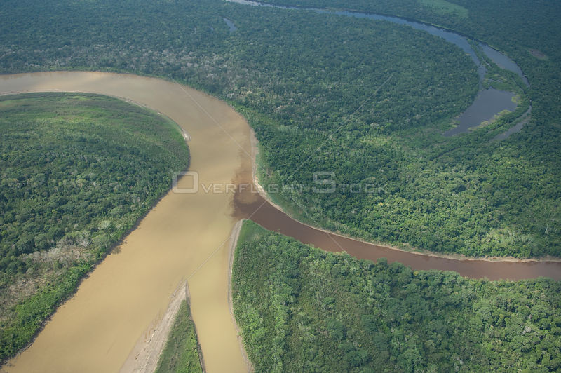 "Aerial view of the floodplain (""várzea"") of the Ichilo River and the Amazon Rainforest along its margins, in Santa Cruz Department, Eastern Bolivia."