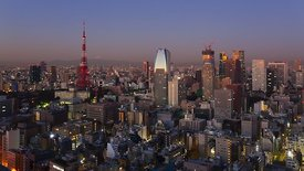 Bird's Eye: Sun Rays Illuminating The Sprawling City, Tokyo Tower, & A Distant Mt. Fuji