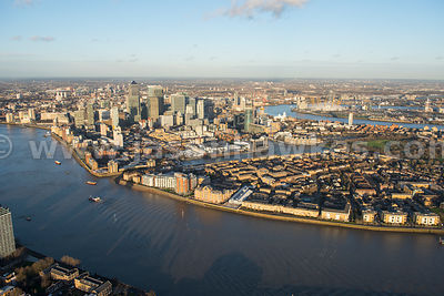 Aerial view of the Isle of Dogs, London
