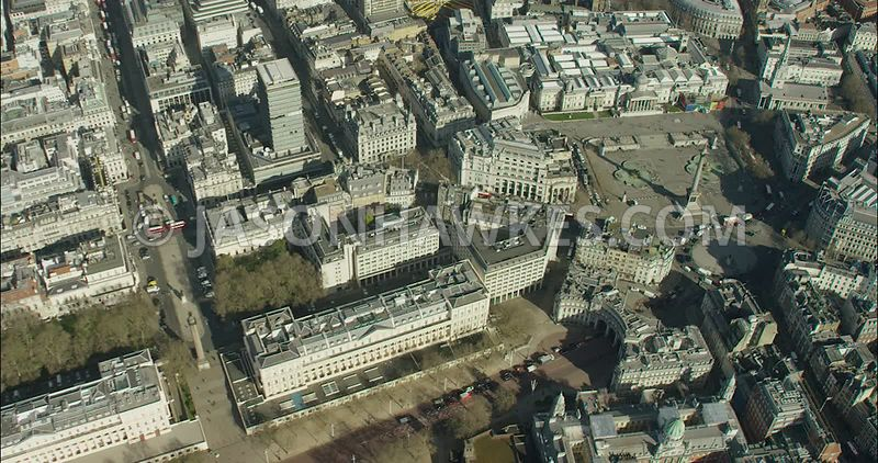 London Aerial Footage St James's and Trafalgar Square.