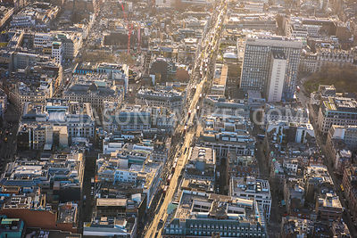 Aerial view of London, Marylebone Oxford Circus.