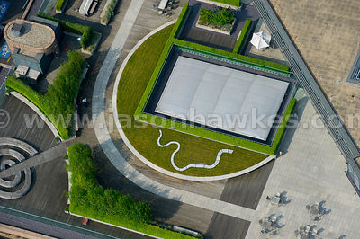 Aerial view of roof garden, London