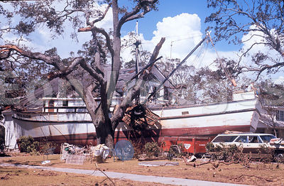 Large boat in front yard after Hurricane Camille, 1969