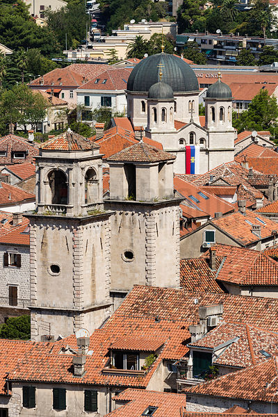 Elevated View of Kotor Cathedral and the Serbian Orthodox Church above Stari Grad (Old Town)