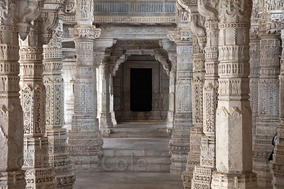 Interior detail of the famous Jain temple in Ranakpur, Rajasthan, India, home to some of the most impressive marble carving on Earth